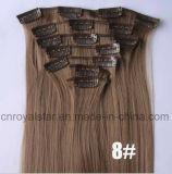 Clip recto del Hairpiece de la fibra sintetizada en la extensión 7PCS del pelo