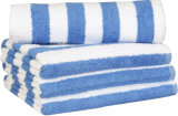 Bleu 100% de raie de cabane de serviettes de plage de serviette de piscine de coton