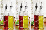 GlasOil Bottle Vinegar Bottle Olive Bottle mit Metal Pourer Glass Jar Glass Storage Jar