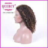 Perucas dianteiras brasileiras coloridas onduladas populares do cabelo humano do laço do Virgin de Remy do cabelo