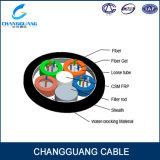 Fábrica profesional de la fabricación de cable óptico trenzado GYFTY del tubo FRP del miembro de fuerza central del PE de la fibra floja de la envoltura