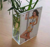 Vase acrylique à lucite de rectangle de vente en gros d'usine de la Chine avec la qualité de bâti de photo