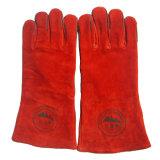 Rote Rindleder-aufgeteiltes Leder-industrielle Handschweißens-Arbeits-Handschuhe