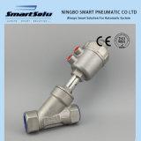 Válvula pneumática do assento do ângulo da flange normalmente fechada esperta