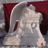 China-weißer weinender Marmorengel, der Denkmal schnitzt