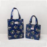 Deux sacs à main floraux de sacs de roses bleu-foncé de loisirs de tailles (CK005-1)
