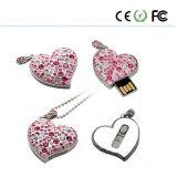 Movimentação cor-de-rosa do flash do USB do coração do pêssego da jóia