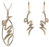 セットされるイヤリング及びペンダント925の純銀製の宝石類の葉形デザイン(S3285)