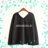 Knit повелительниц, пуловер покупкы длинних втулок шеи v причинный