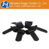 黒く調節可能な締める物のヴェルクロケーブルのタイテープ