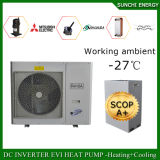 Sitio 12kw/19kw/35kw del contador de la calefacción de suelo del invierno de la tecnología -25c de Evi 100~350sq más excepto la pompa de calor partida eléctrica del calentador de agua de baño