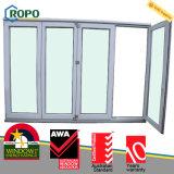 Plastique triple Windows en verre se pliant en verre UPVC/PVC et portes