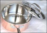 Ensemble plaqué triplement de cuivre de Cookware d'acier inoxydable