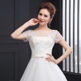 Vestido de casamento de perolização Backless da correia da O-Garganta (SLD003)