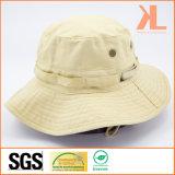 Sombrero empedrado de color caqui de Fishmen de la tela cruzada del algodón con los remaches y la raya del acoplamiento