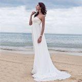 Robe de mariage Chiffon blanche de Long Beach de lacet d'amoureux (SA007)