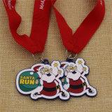 Выдвиженческое изготовленный на заказ медаль бега Санта эмали для рождества