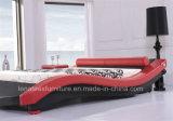 A022赤い革現代デザイン性のベッド
