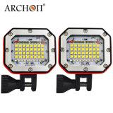 Het waterdichte Wit van de Lamp 300watts + het Rode LEIDENE Flitslicht van het Vrij duiken met de Bus van de Batterij