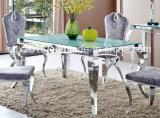 Vidrio blanco en la tapa, muebles del comedor del vector del acero inoxidable