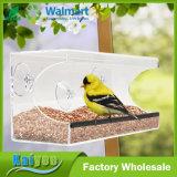 Alimentador plástico de acrílico grande claro del pájaro de la ventana fácil instalar