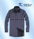 Camisa azul y blanca con el collar interior doble, Placket y el pun¢o