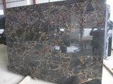 Vena dell'oro con le mattonelle di marmo nere delle lastre di marmo nere