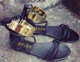 Ботинки женщин сандалий Shine золота вспомогательные плоские