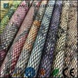 Couro sintético de venda quente do falso do Glitter para sapatas, sacos, mobília, decoração, vestuário