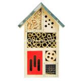 Casa de madeira do inseto do jardim feito sob encomenda do logotipo para a borboleta da abelha