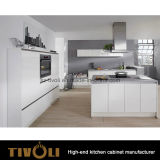 Witte Keuken en het Zwarte Meubilair van de Keuken van het Ontwerp van het Eiland (AP096)