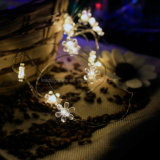 Свет теплого шнура белого цветка форменный медного Fairy для украшения праздника