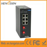 Interruptor de red industrial de 6 megabits Ethernet con 2 fibras