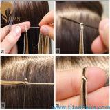 Le noeud de chaîne de caractères de coton a basé la prolonge de cheveu de Remy de kératine