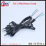 Tipo cabo da C.A. Europa de potência da UE do plugue do Pin da UE 2 do cabo do Pin H03VV-F Powercord do cabo de extensão 2 da potência