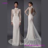 Платье венчания втулки высокой шеи длиннее с шнурком Transprent