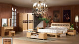 Muebles dobles modernos blancos elegantes del dormitorio con Bedstands (UL-LF021)