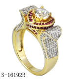 anillo de diamante de la plata de la joyería de la manera del oro 14k