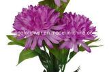 Única haste flor artificial/plástica/de seda do crisântemo com 3 filiais (XF30017)