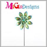 青く大変な孔雀花の金属の風の紡績工の棒