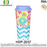 Doppel-wandiger Drucken-Großhandelsplastik Isolierkaffeetasse (HDP-2037)
