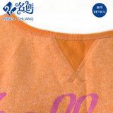 Camiseta redonda de las señoras de la manera del collar de la funda larga anaranjada
