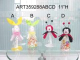 "11"" H Bunny & mariquita Candy Bag-4asst. -Easter Decoración"