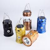 Lanterna di campeggio ricaricabile della mini torcia elettrica solare esterna a buon mercato portatile LED della plastica 6 LED