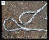 Élingue de levage galvanisée par oeil flamand appuyée de câble métallique