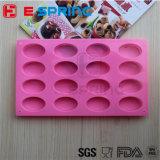 Moulage ovale de traitement au four de moulage de gâteau de silicones de moulage de plateau de savon de couleur de rose de forme