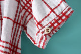 Платье рубашки проверки втулки способа короткое для одежд девушки