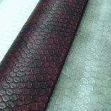 のどのヘビの穀物PU靴(HS-M088)のための革PU Atificialの革