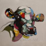 زاهية فنية [أيل بينتينغ] لأنّ أبقار مع نسيج ثقيلة