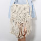 손에 의하여 길쌈된 밀짚은 여자 숙녀 핸드백을 자루에 넣는다 Beach Tassel Flap Fashion